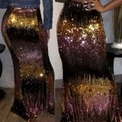 Lovely Street Sequined Gold Skirt