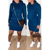 Lovely Casual Hooded Collar Dark Blue Mini Dress