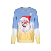 Lovely Christmas Day Printed Blue Sweatshirt Hoodi