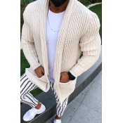 Lovely Casual Loose Beige Cardigan