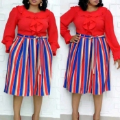Lovely Casual Striped Red Mid Calf Plus Size Dress