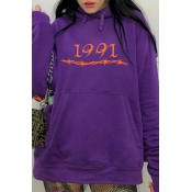 Lovely Casual Letter Printed Purple Hoodie