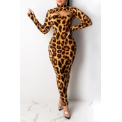 Lovely Party Leopard Printed Yellow Ankle Length Dress