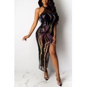 Lovely Party Dew Shoulder Black Ankle Length Prom Dress