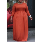 Lovely Casual Loose Jacinth Floor Length Plus Size