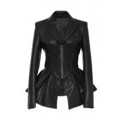 Lovely Casual Flounce Black Coat