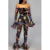 Lovely Sexy See-through Printed Multicolor Two-piece Pants Set