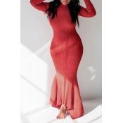Lovely Casual Skinny Wine Red Floor Length Trumpet Mermaid Dress