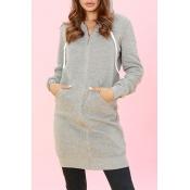 Lovely Casual Long Sleeves Light Grey Long Coat
