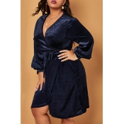 Lovely Trendy V Neck Navy Blue Knee Length Plus Si