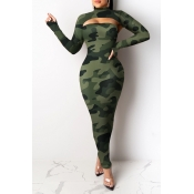 Lovely Party Leopard Printed Green Ankle Length Dress