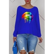 Lovely Casual Cross-over Design Printe Blue Sweats