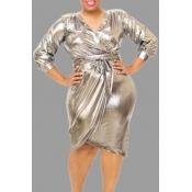 Lovely Casual V Neck Silver Knee Length Plus Size Dress