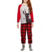 Lovely Family Printed Red Girls Two-piece Pants Se
