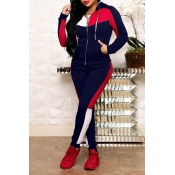 Lovely Casual Patchwork Deep Blue Two-piece Pants Set