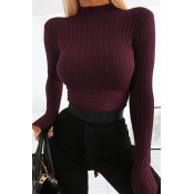 Lovely Chic Turtleneck Lace-up Wine Red Sweater