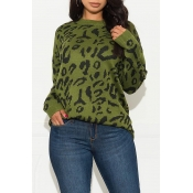 Lovely Casual O Neck Printed Green Sweater