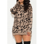 Lovely Casual O Neck Printed Khaki Sweater
