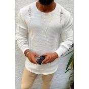 Lovely Casual Broken Holes White Sweater