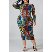 Lovely Casual Printed Multicolor Mid Calf Plus Siz