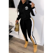 Lovely Sportswear Hooded Collar Patchwork Black Two-piece Pants Set