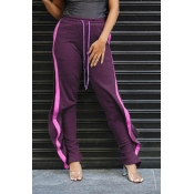 Lovely Casual Striped Flounce Purple Pants