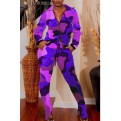 Lovely Casual Turndown Collar Camouflage Printed P