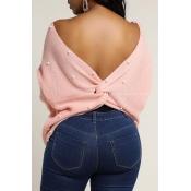 Lovely Sweet Cross-over Design Pink Sweater