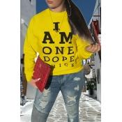 Lovely Casual O Neck Printed Yellow Sweatshirt Hoo