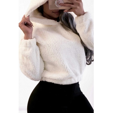 Lovely Leisure O Neck White Hoodie