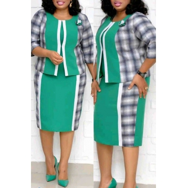 Lovely Casual Patchwork Green Plus Size Two-piece Skirt Set