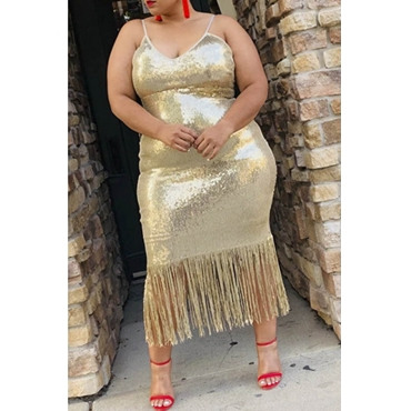 Lovely Party Tassel Design Apricot Mid Calf Plus Size Dress