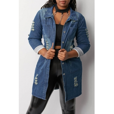 Lovely Casual Broken Holes Blue Coat