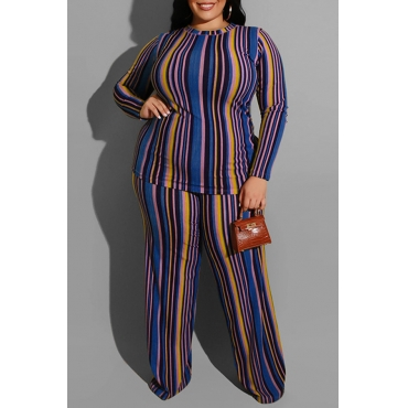 Lovely Casual Striped Blue Plus Size Two-piece Pants Set