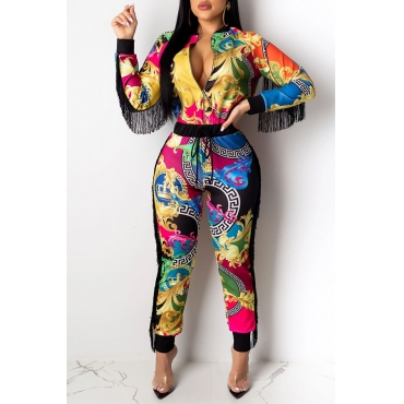 Lovely Trendy Tassel Design Multicolor Two-piece Pants Set