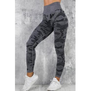 Lovely Sportswear Camouflage Printed Black Leggings