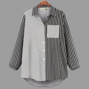 Lovely Casual Turndown Collar Striped Printed Black Plus Size Blouse