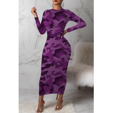 Lovely Casual Camouflage Printed Purple Mid Calf Dress