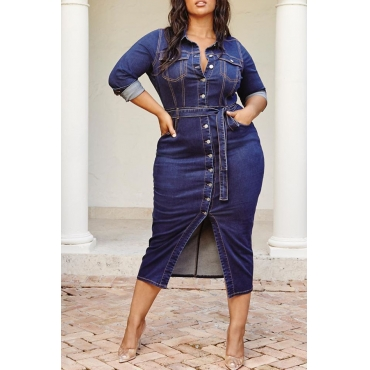 Lovely Casual Button Design Deep Blue Plus Size Mid Calf Dress
