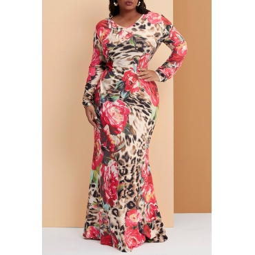 Lovely Casual Floral Printed Red Floor Length Trumpet Mermaid  Plus Size Dress