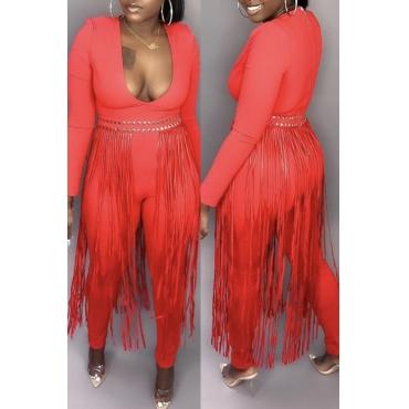 Lovely Trendy Tassel Design Red One-piece Jumpsuit