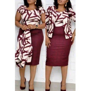 Lovely Casual O Neck Printed Purplish Red Plus Size Two-piece Skirt Set