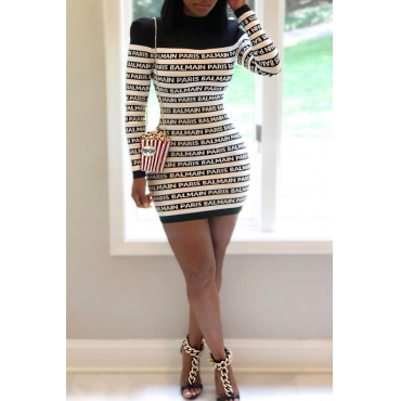 Lovely Casual Letter Printed Black Mini Dress