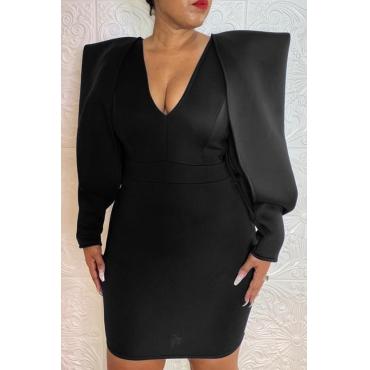 Lovely Temperament V Neck Black Mini Evening Dress