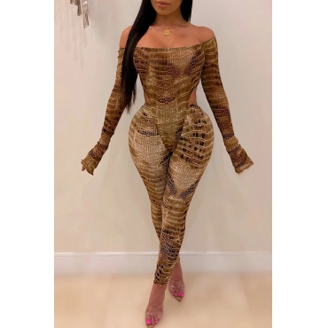 Lovely Casual Dew Shoulder Snakeskin Printed One-piece Jumpsuit