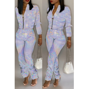 Lovely Trendy Zipper Design Silver One-piece Jumpsuit