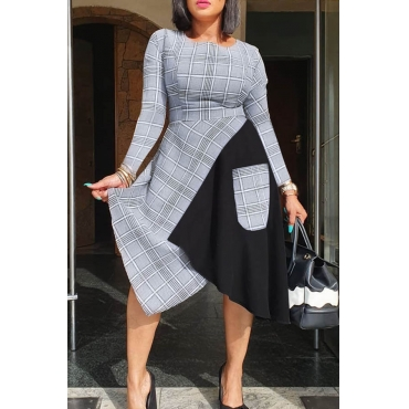 Lovely Casual Patchwork Grey Knee Length Dress
