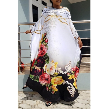 Lovely Casual Floral Printed White Ankle Length Plus Size Dress