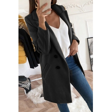 Lovely Casual Basic Buttons Design Black Coat
