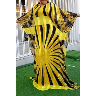 Lovely Casual Printed Loose Yellow Floor Length Plus Size Dress